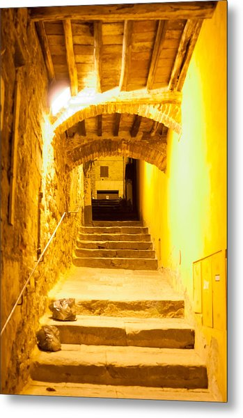 Stairs In Montepulciano At Night Metal Print by Jakob Montrasio