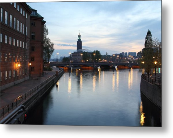 Stockholm Vasabron And The City Hall By Night Metal Print by Pejft