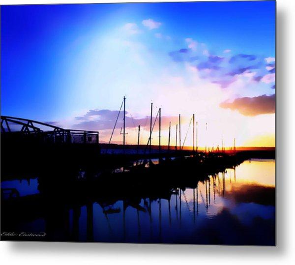 Sunset On Edmonds Washington Boat Marina Metal Print