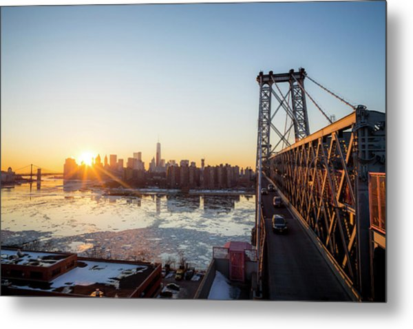 Sunset Over A City While On A Bridge Metal Print