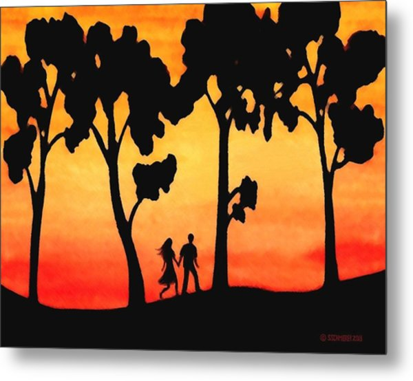 Sunset Walk Metal Print