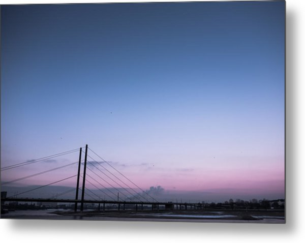 Suspension Bridge Over Sea Against Sky During Sunset Metal Print by Christian Soldatke / EyeEm