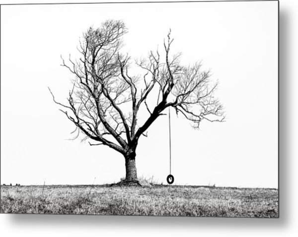 The Playmate - Old Tree And Tire Swing On An Open Field Metal Print