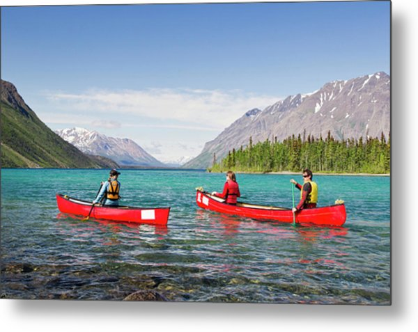 Three Kayakers Paddle In Kathleen Lake Metal Print
