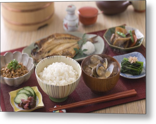 Traditional Japanese Breakfast Metal Print by Mixa