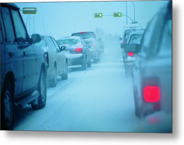 Traffic Jam In Snowy Conditions Metal Print by Digital Vision.