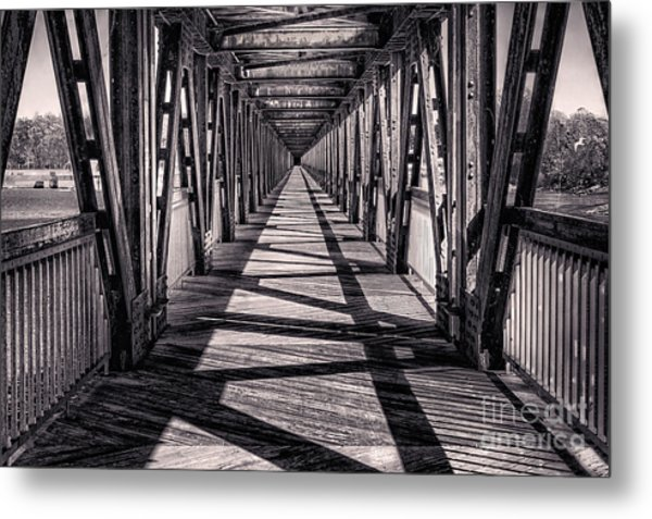 Tulsa Pedestrian Bridge In Black And White Metal Print