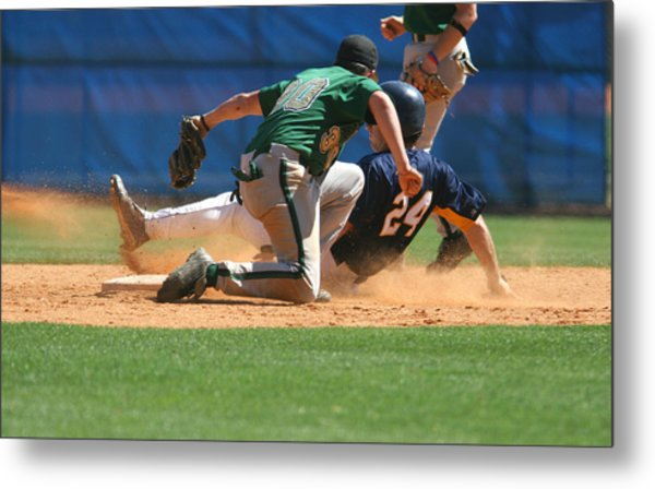 Two Baseball Players Playing A Game Of Baseball Metal Print by RBFried