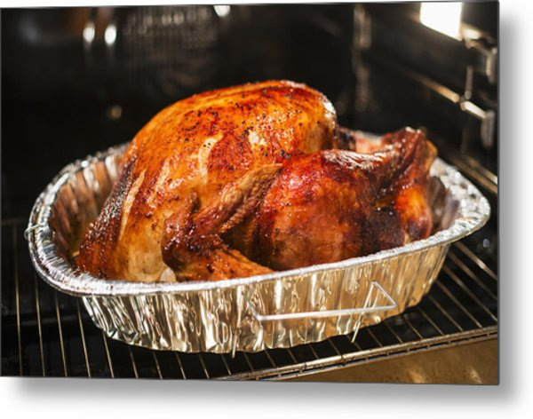 Usa, New York State, Roast Turkey Metal Print by Tetra Images