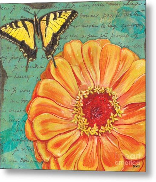 Verdigris Floral 1 Metal Print