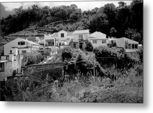 Village Nestled In The Hills  Metal Print