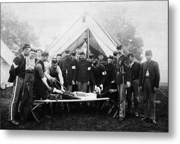 Vintage Image Of Civil War Reenactment Metal Print by Thinkstock Images