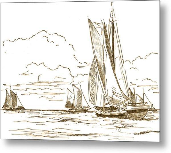 Vintage Oyster Schooners  Metal Print