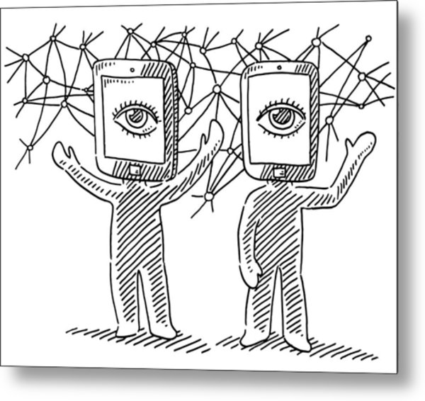 Virtual Reality Human Figures Concept Drawing Metal Print by FrankRamspott