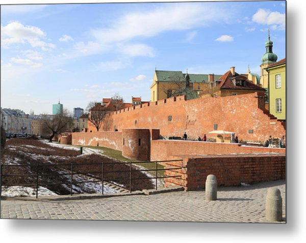 Warsaw Old Town Wall And Castle Metal Print by Pejft