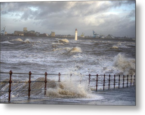 Waves On The Slipway Metal Print