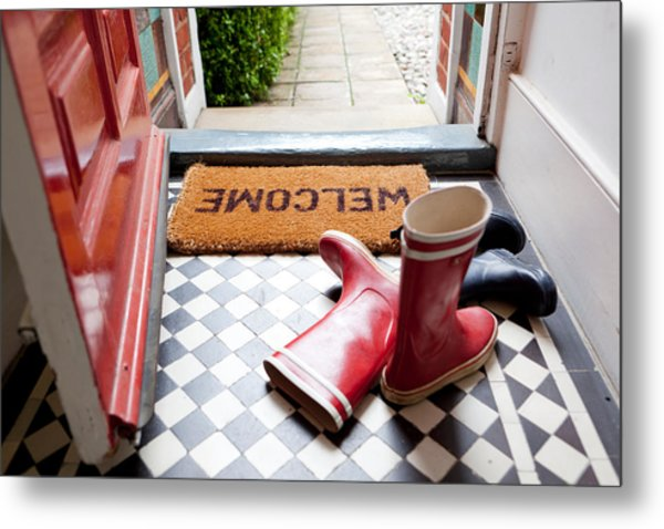 Welcome Mat And Wellington Boots Metal Print by Image Source