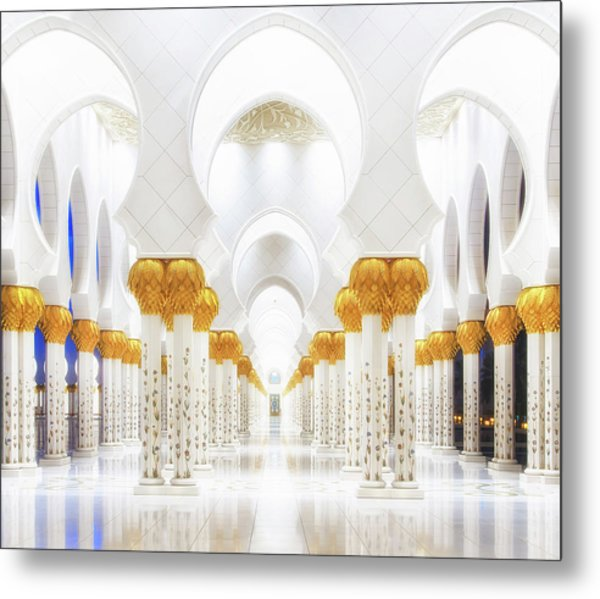 White And Gold Metal Print