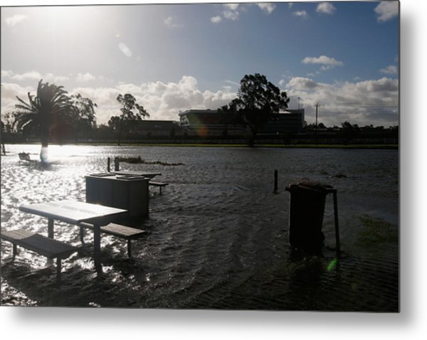 Wild Weather Causes Flooding In Melbourne Cbd Metal Print by Darrian Traynor