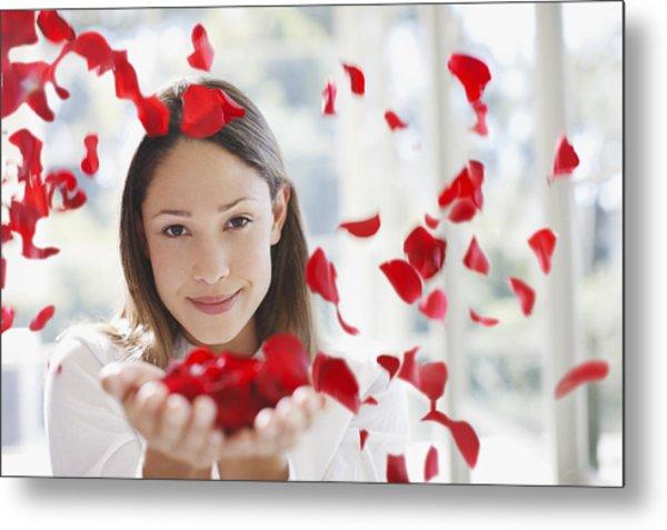 Woman Holding Handful Of Flower Petals Metal Print by Tom Merton