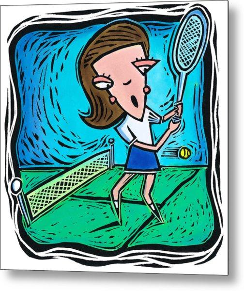 Woman Playing Tennis Metal Print by Jannine Cabossel