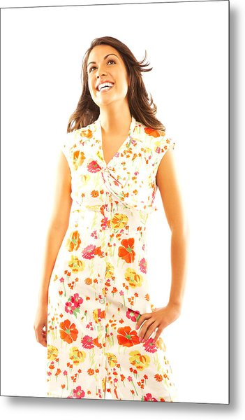 Woman Wearing Sundress Metal Print by GSPictures