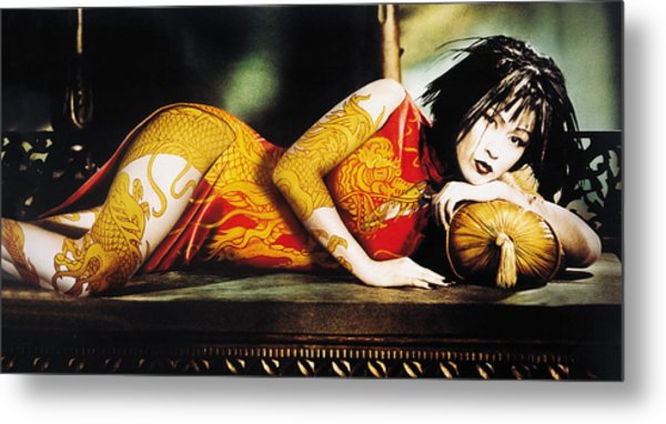 Woman With Arm And Leg Painted Lying On Sofa Metal Print by Eryk Fitkau