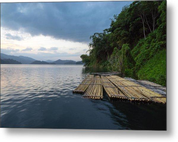 Wooden Rafts Moored On Lake By Trees Against Cloudy Sky Metal Print by Shaifulzamri Masri / EyeEm