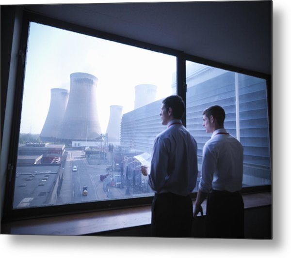 Workers Looking Out Over Power Station Metal Print by Monty Rakusen