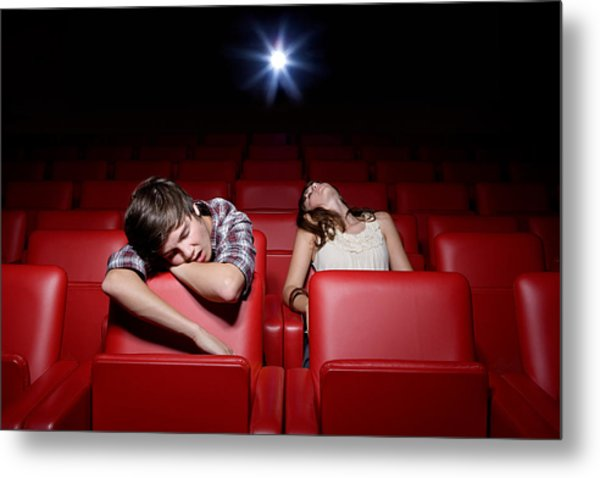 Young Couple Asleep In The Movie Theater Metal Print by Image Source