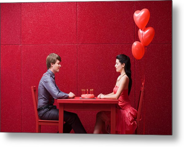 Young Couple With Cake Metal Print by Image Source