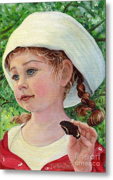 Annie In Dad's Sailor Hat Metal Print