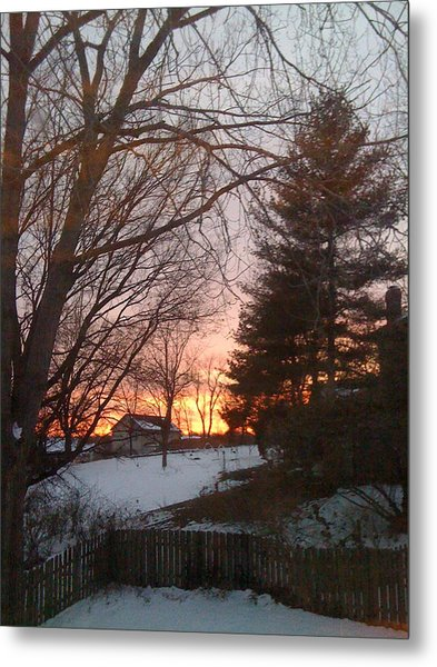 Snowy Winter Sunset Metal Print