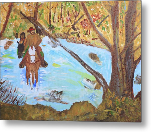 A Trapper And His Indian Lady Crossing A Stream Metal Print