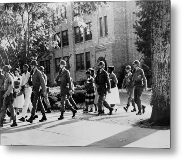 African-american Students Leaving Metal Print by Everett