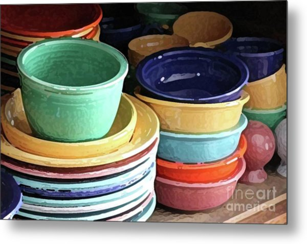 Antique Fiesta Dishes I Metal Print by Marilyn West