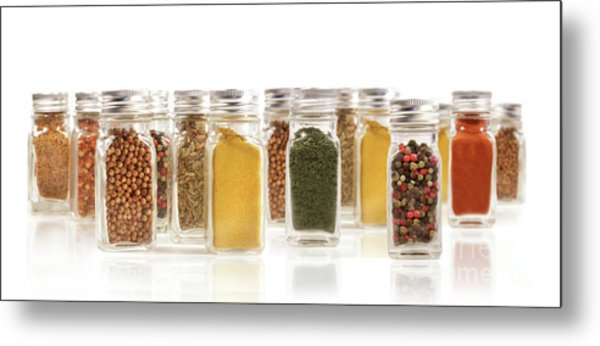 Assorted Spice Bottles Isolated On White Metal Print