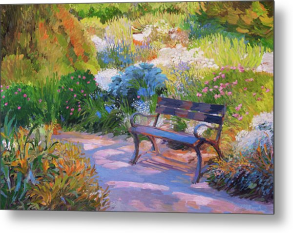 Bench On Margaret Island Metal Print