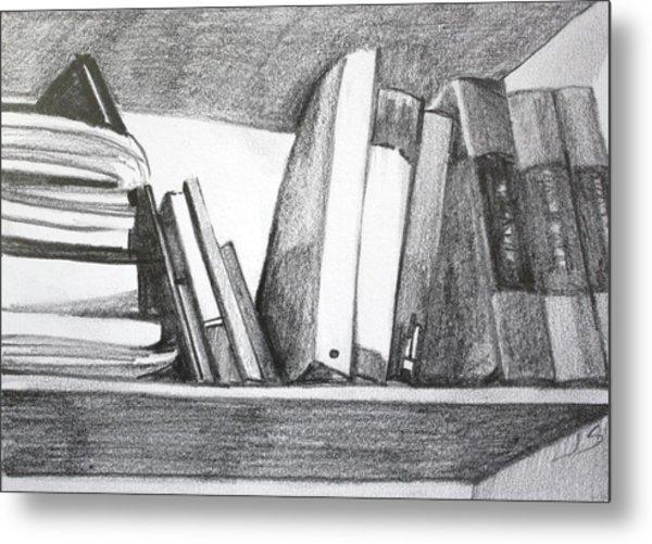 Books On A Shelf Metal Print