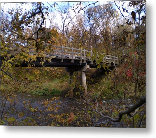 Bridge On The Sunrise River Metal Print