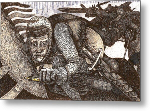 Chased By Brigands Metal Print