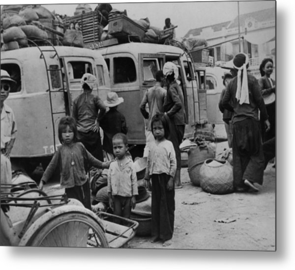 Children And Adults Evacuating Metal Print by Everett