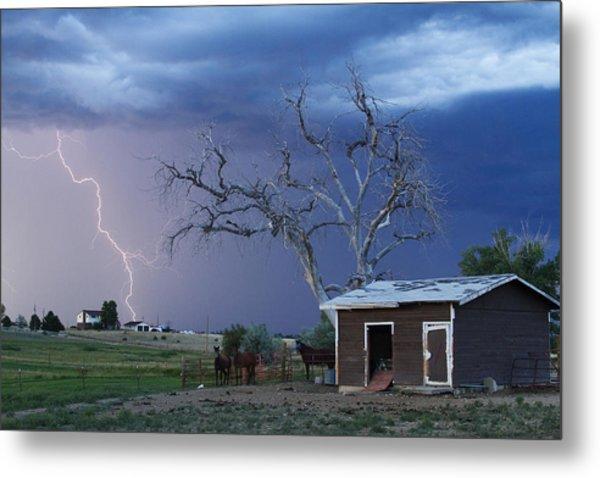 Country Horses Lightning Storm Ne Boulder County Co  63 Metal Print