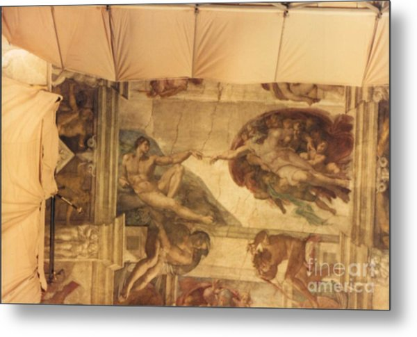 Creation Of Adam With Scaffolding Metal Print