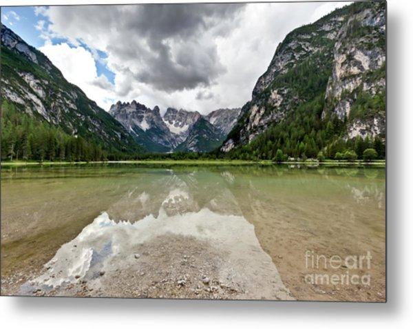 Cristallo Mountains Reflection Dolomites Northern Italy Metal Print