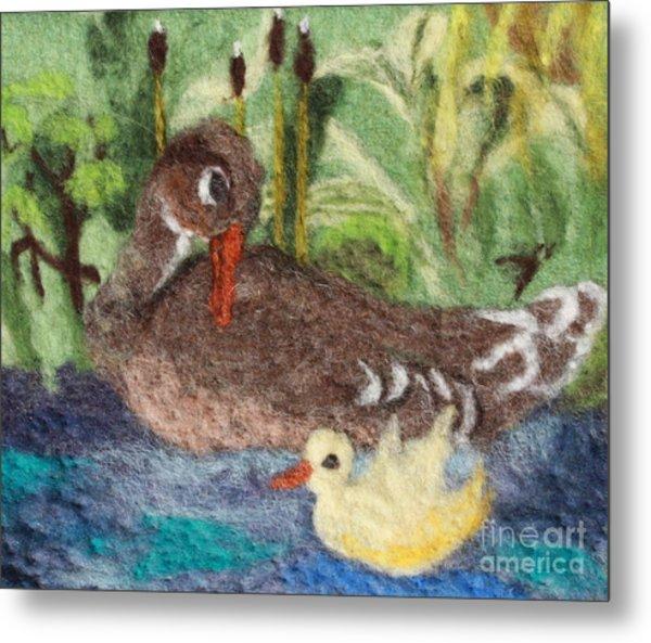 Duck And Duckling Metal Print by Nicole Besack