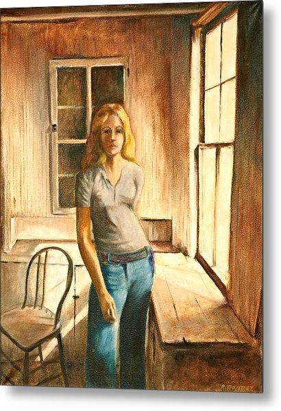 Girl At The Window Metal Print by Rita Bentley