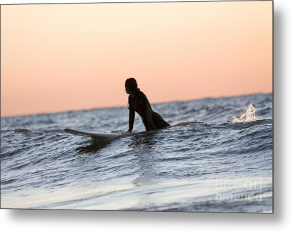 Girl Surfer Catching A Wave In Lake Michigan Metal Print