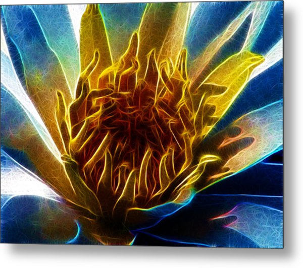 Glowing Lotus Metal Print