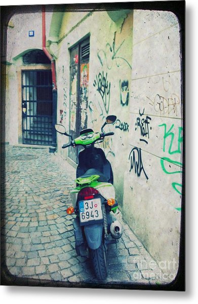 Green Vespa In Prague Metal Print